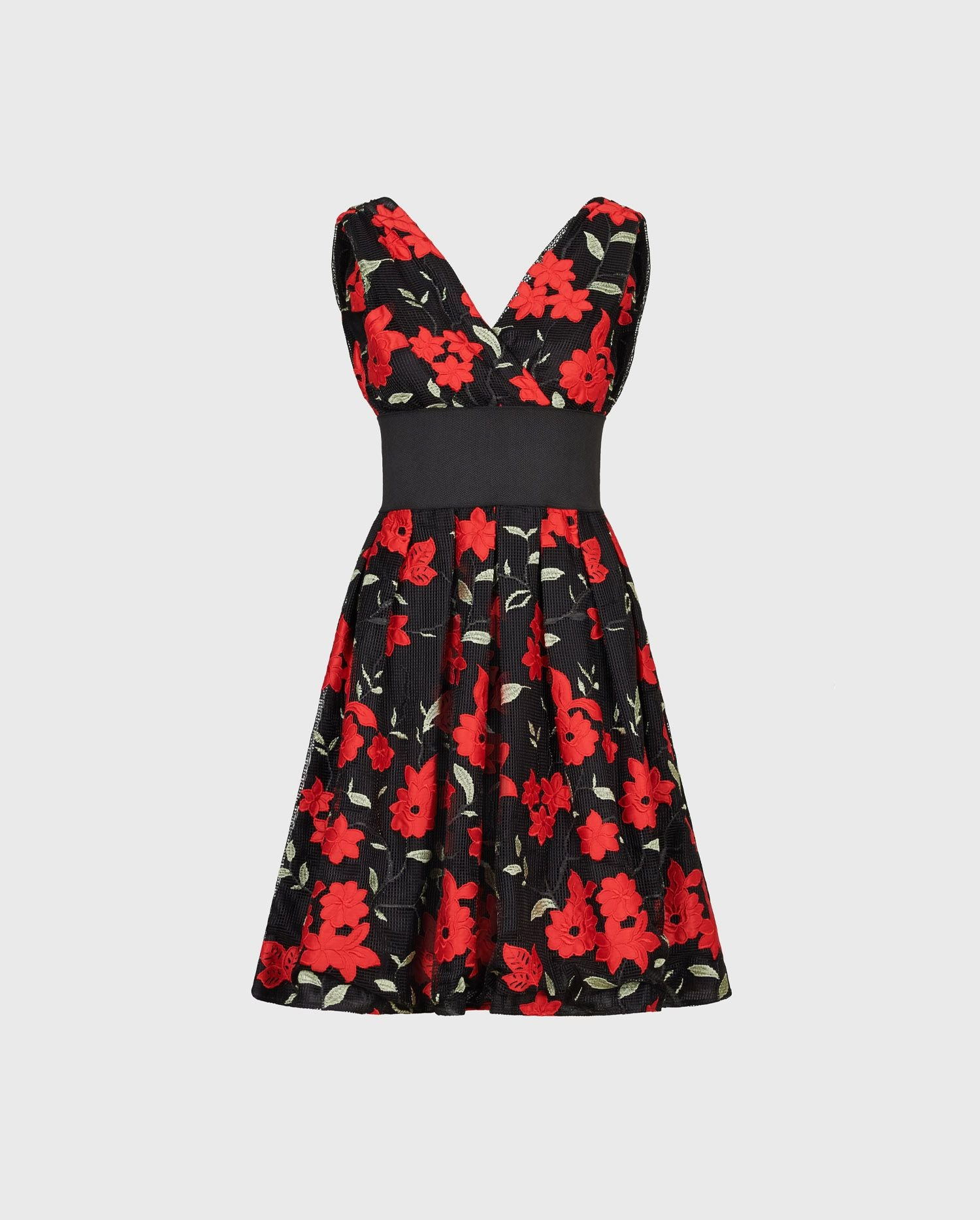 Transport yourself to the streets of Paris in the beautiful MATHILDA black and red floral A-Line dress.