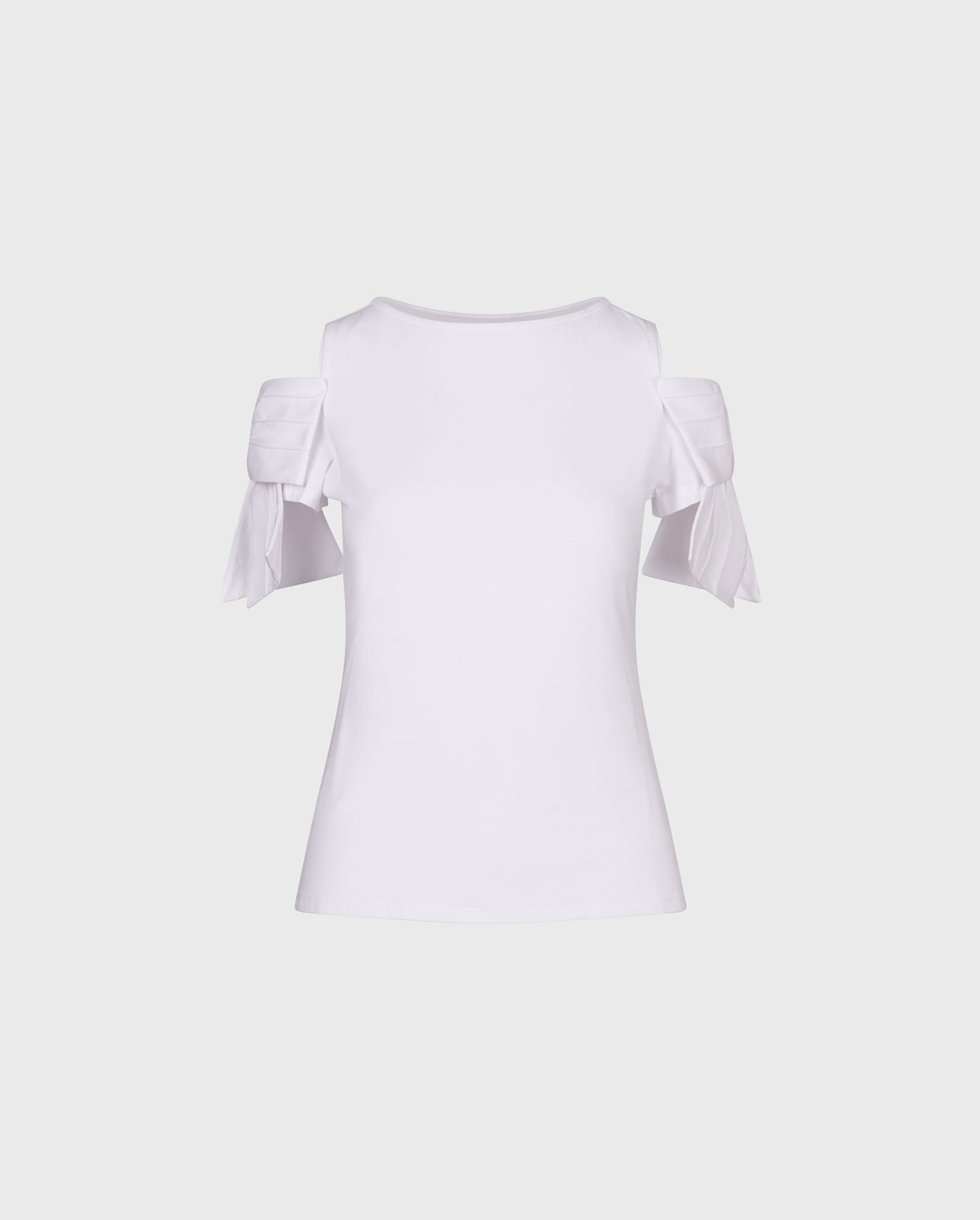 ANNE FONTAINE: MYRTILLE Top: Jersey cotton top with cold shoulders and bow detail