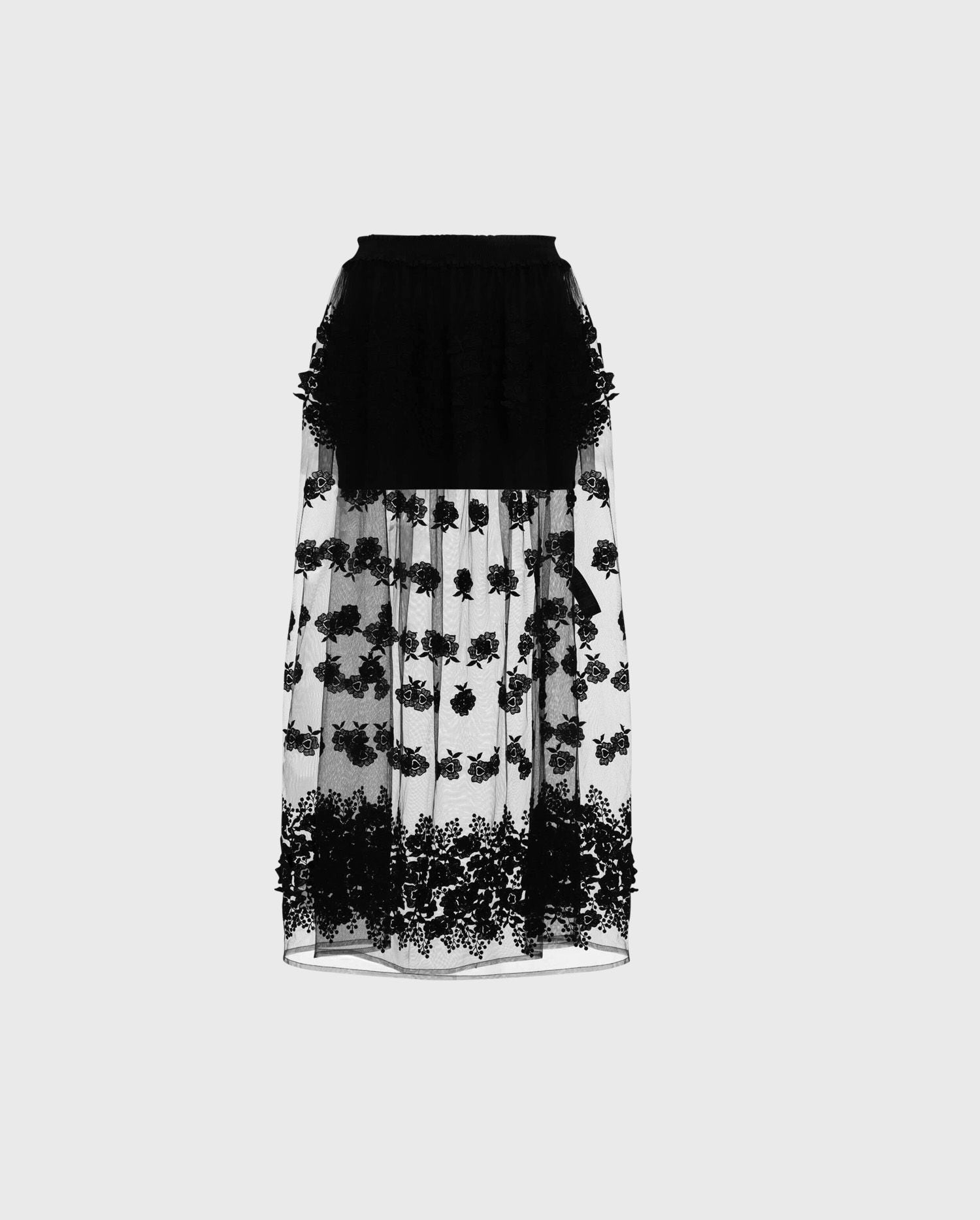 Add the PARADIS black mesh floral statement skirt to your wardrobe to make sure your ready to make an entrance